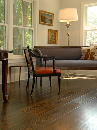 Sustainable flooring from Woodwrights Wide Plank Flooring.